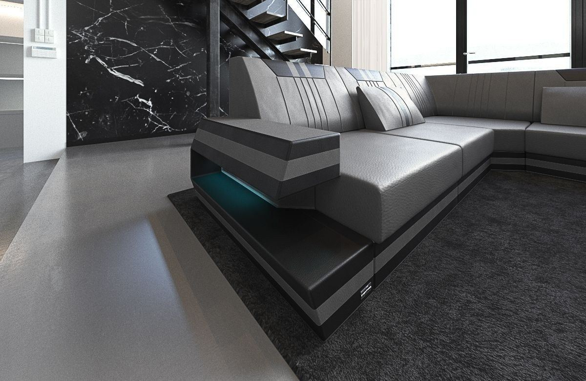 xxl wohnlandschaft ravenna in leder und den farben grau schwarz. Black Bedroom Furniture Sets. Home Design Ideas