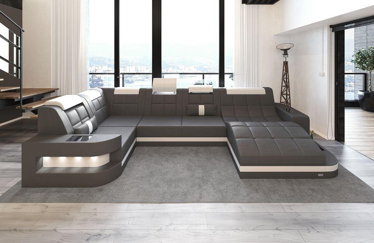 leder wohnlandschaft wave u form grau weiss. Black Bedroom Furniture Sets. Home Design Ideas