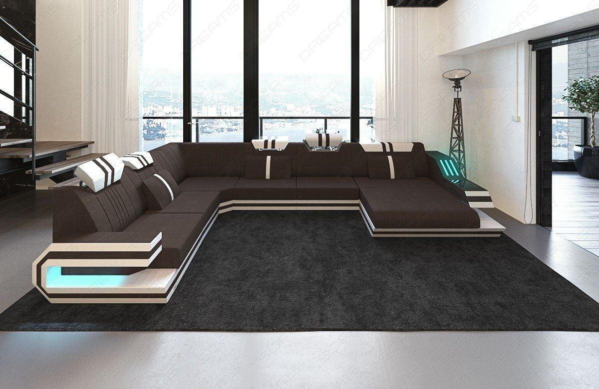 wohnlandschaft ravenna als xxl in stoff mit ausziehbaren bett. Black Bedroom Furniture Sets. Home Design Ideas