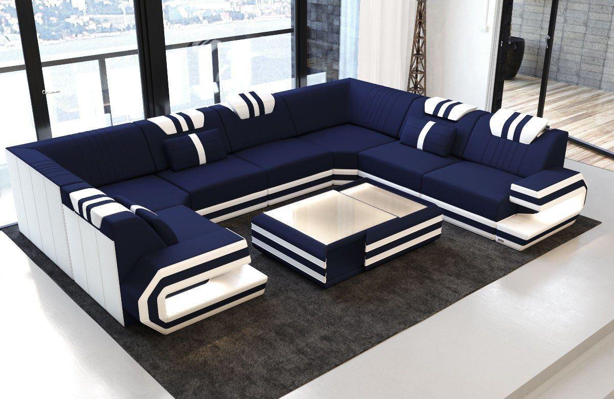 wohnlandschaft ragusa in der u form mit led beleuchtung. Black Bedroom Furniture Sets. Home Design Ideas