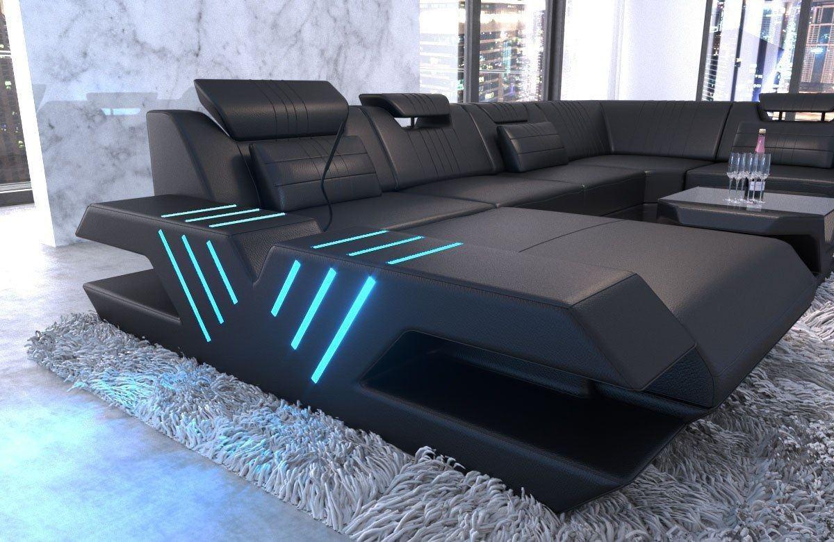 xxl wohnlandschaft venedig leder in schwarz sofa mit. Black Bedroom Furniture Sets. Home Design Ideas