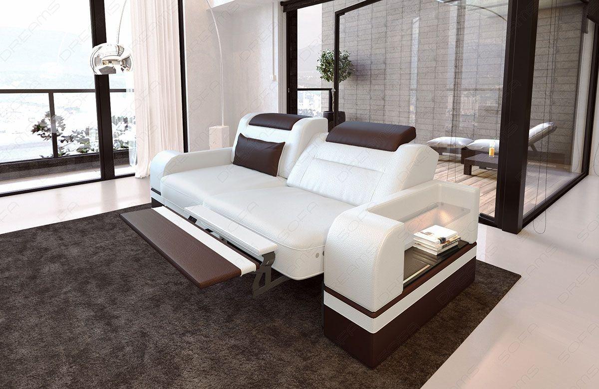 3 sitzer ledersofa parma mit opt hocker und led beleuchtung. Black Bedroom Furniture Sets. Home Design Ideas