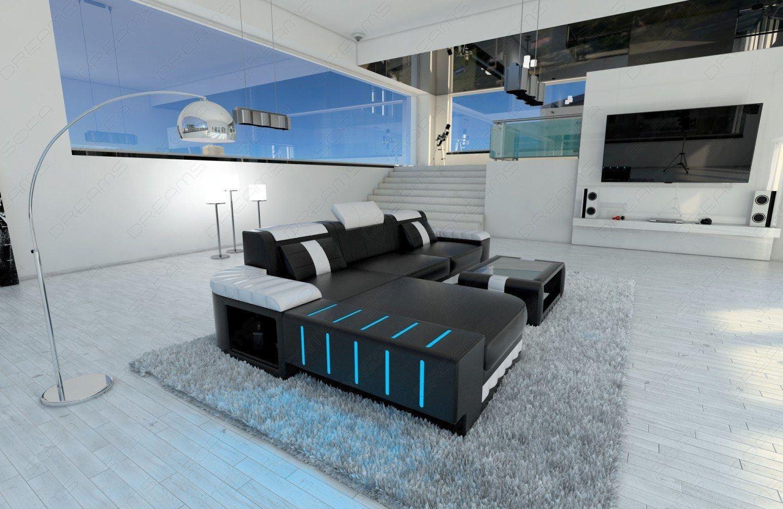 sofas ledersofa ledercouch bellagio l form mit led. Black Bedroom Furniture Sets. Home Design Ideas