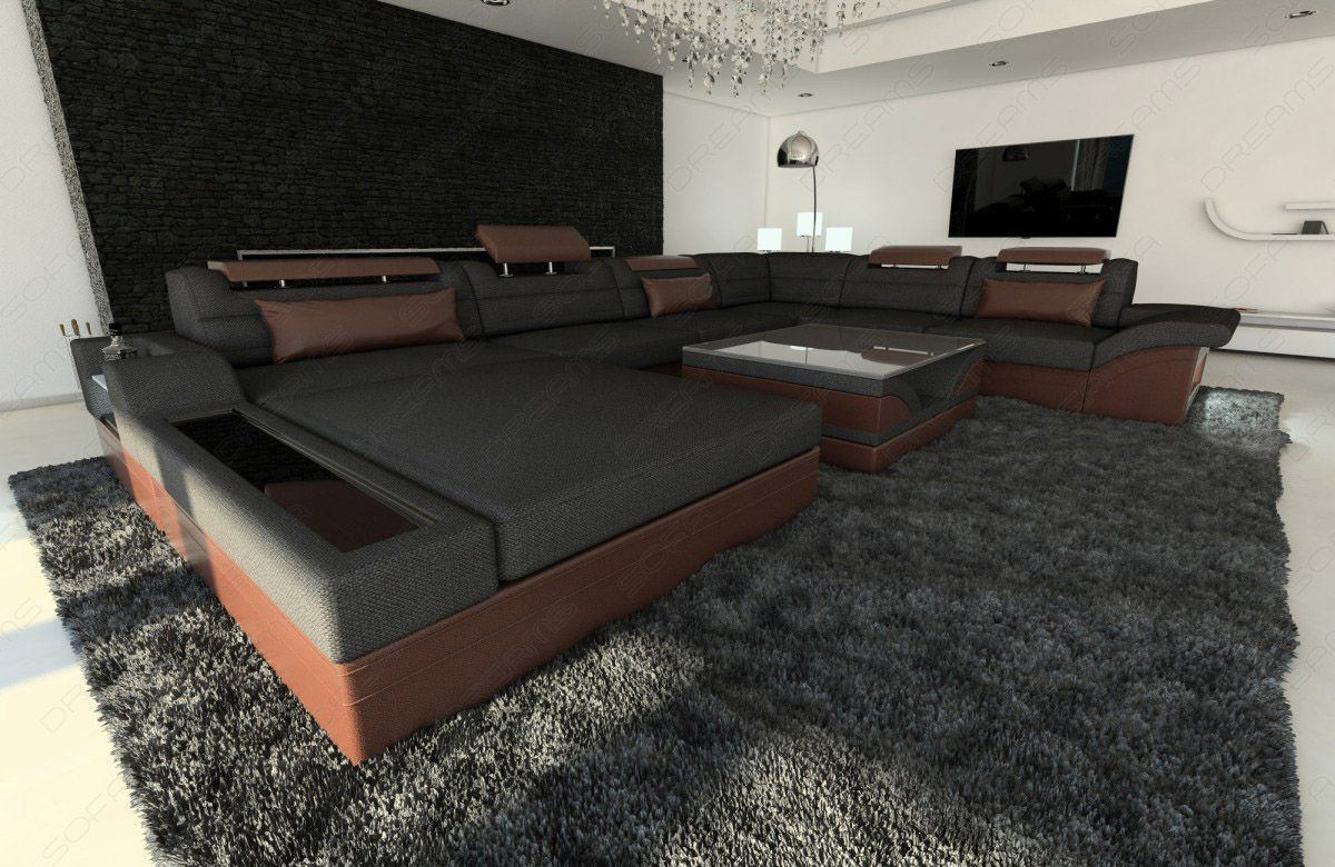 sofas ledersofa stoff wohnlandschaft mezzo xxl materialmix sofas g nstig online kaufen. Black Bedroom Furniture Sets. Home Design Ideas