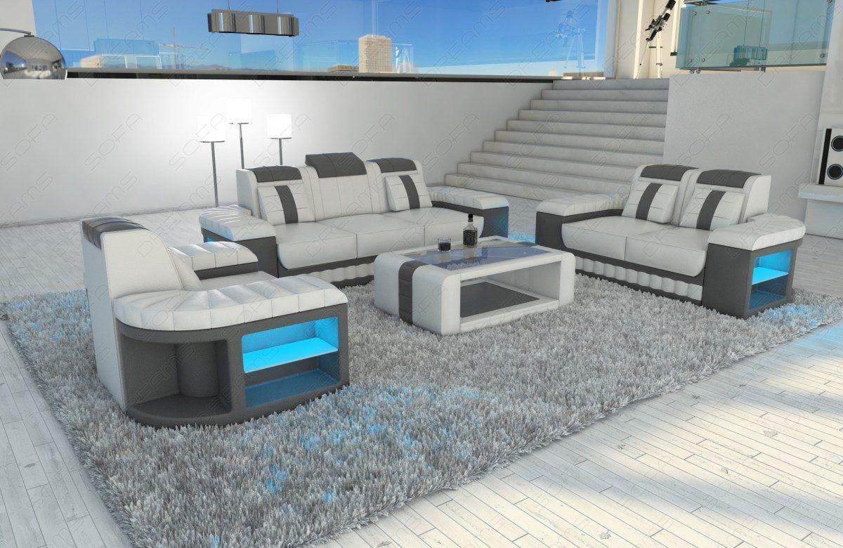 design sofagarnitur bellagio 3 2 1 led. Black Bedroom Furniture Sets. Home Design Ideas