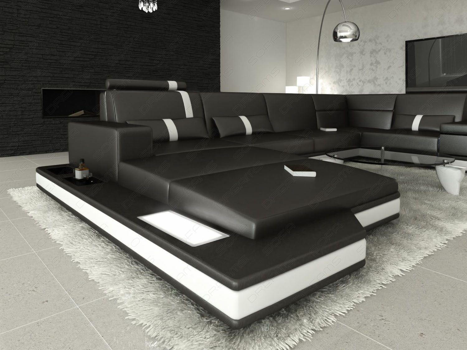 sofas ledersofa ledersofa wohnlandschaft messana schwarz weiss sofas wohnlandschaften. Black Bedroom Furniture Sets. Home Design Ideas