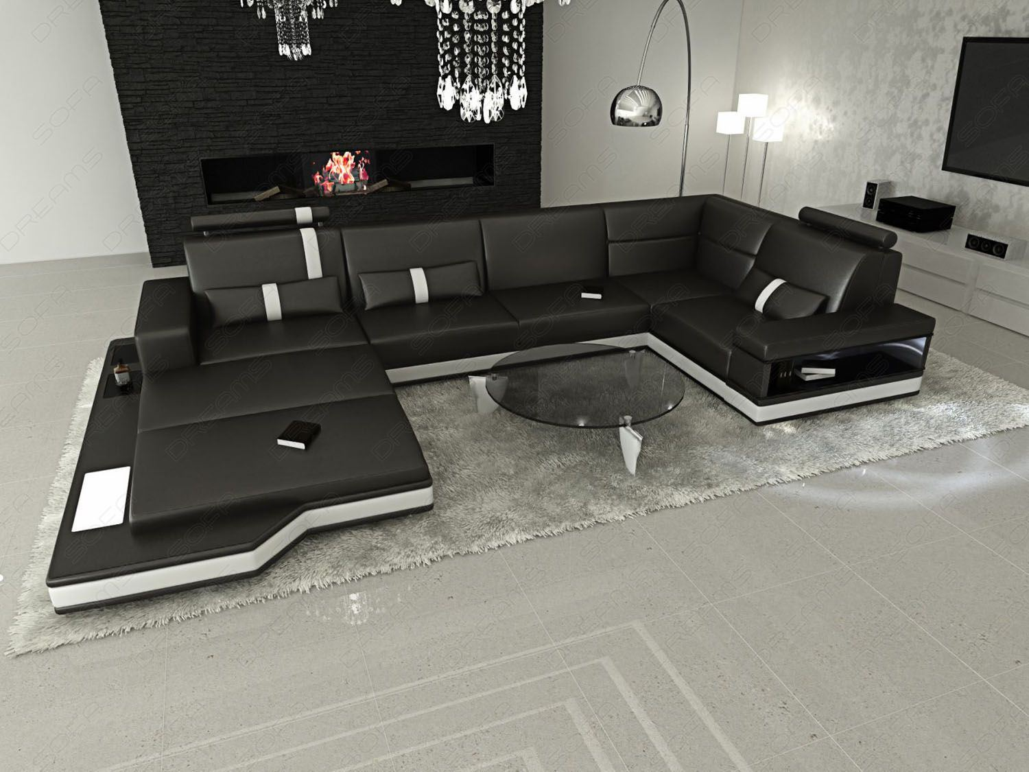 sofas ledersofa ledersofa wohnlandschaft messana. Black Bedroom Furniture Sets. Home Design Ideas