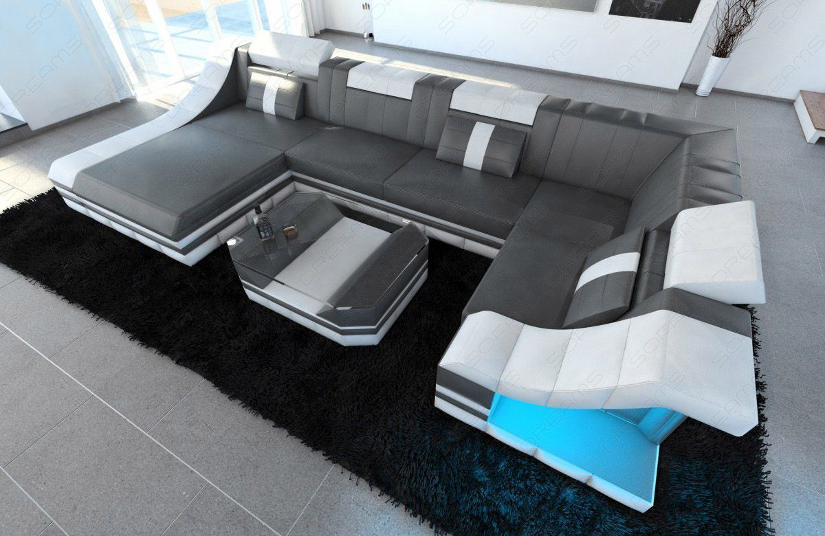 sofas ledersofa moderne wohnlandschaft turino u form mit led beleuchtung sofas g nstig. Black Bedroom Furniture Sets. Home Design Ideas