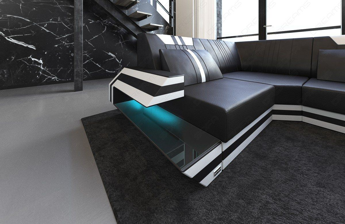 ledersofa wohnlandschaft ravenna u form led. Black Bedroom Furniture Sets. Home Design Ideas