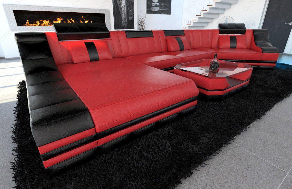 sofas ledersofa luxus wohnlandschaft turino c form mit led beleuchtung sofas g nstig. Black Bedroom Furniture Sets. Home Design Ideas