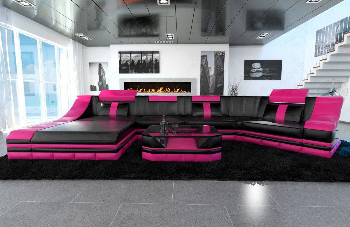 Ecksofa mit beleuchtung sofa mit schlaffunktion von for Couchlandschaft grau