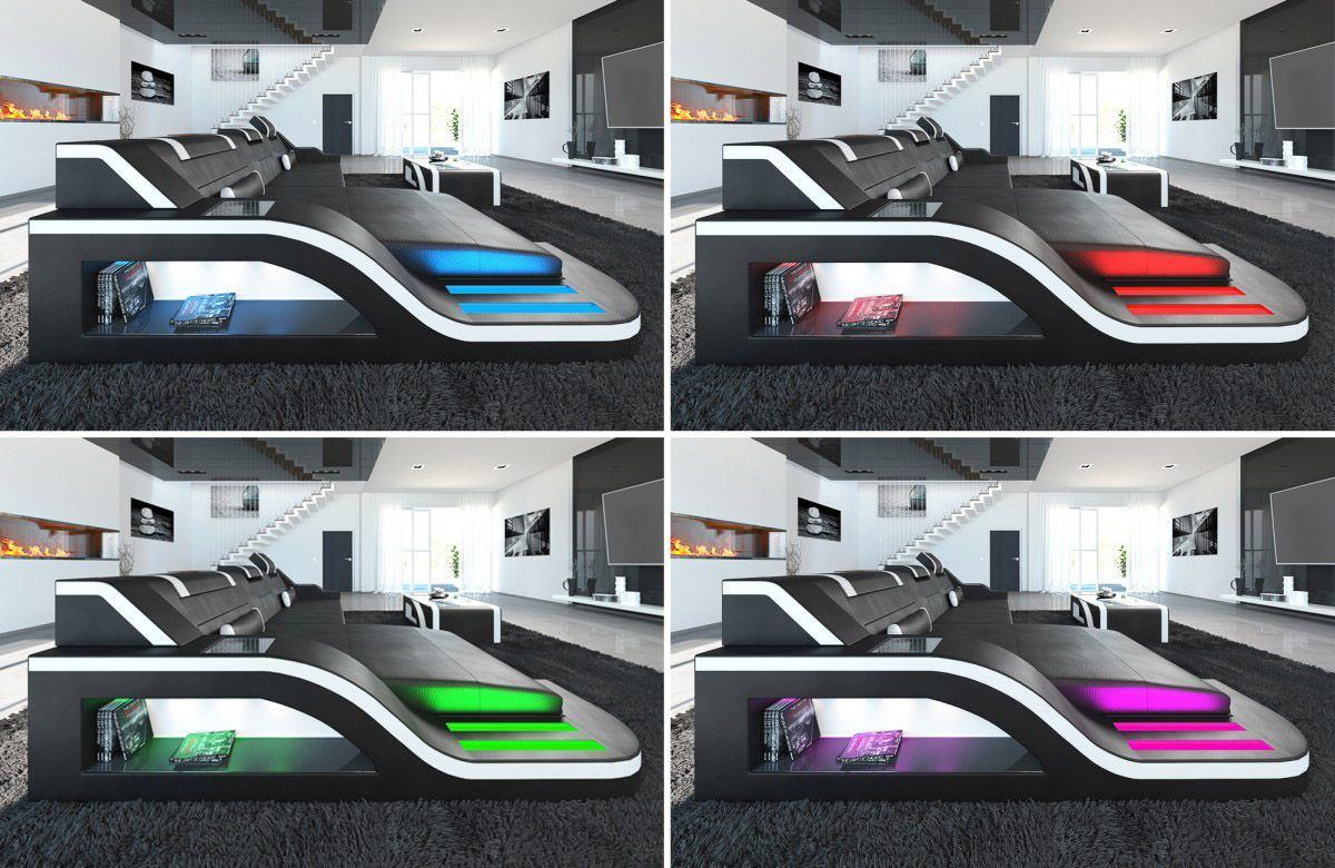 sofas ledersofa design wohnlandschaft palermo u form mit led sofas g nstig online kaufen. Black Bedroom Furniture Sets. Home Design Ideas