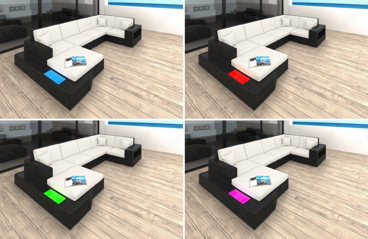 sofas ledersofa rattansofa lounge set messana lagerware g nstig online kaufen. Black Bedroom Furniture Sets. Home Design Ideas