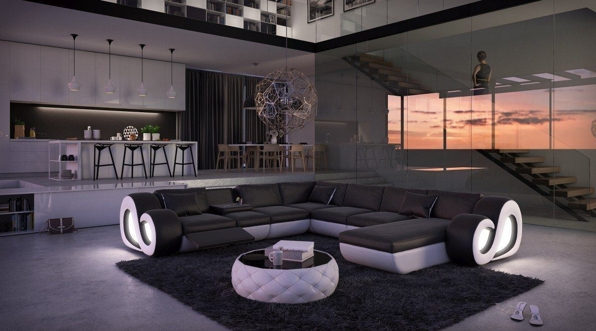 sofas ledersofa sofa wohnlandschaft nesta mit. Black Bedroom Furniture Sets. Home Design Ideas
