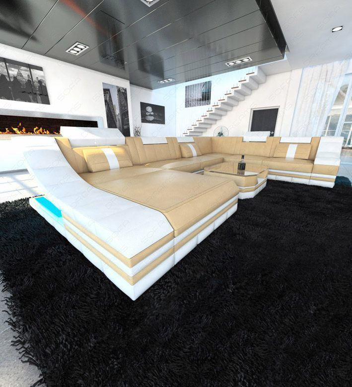 sofas ledersofa design wohnlandschaft turino xl mit led beleuchtung sofas g nstig online. Black Bedroom Furniture Sets. Home Design Ideas