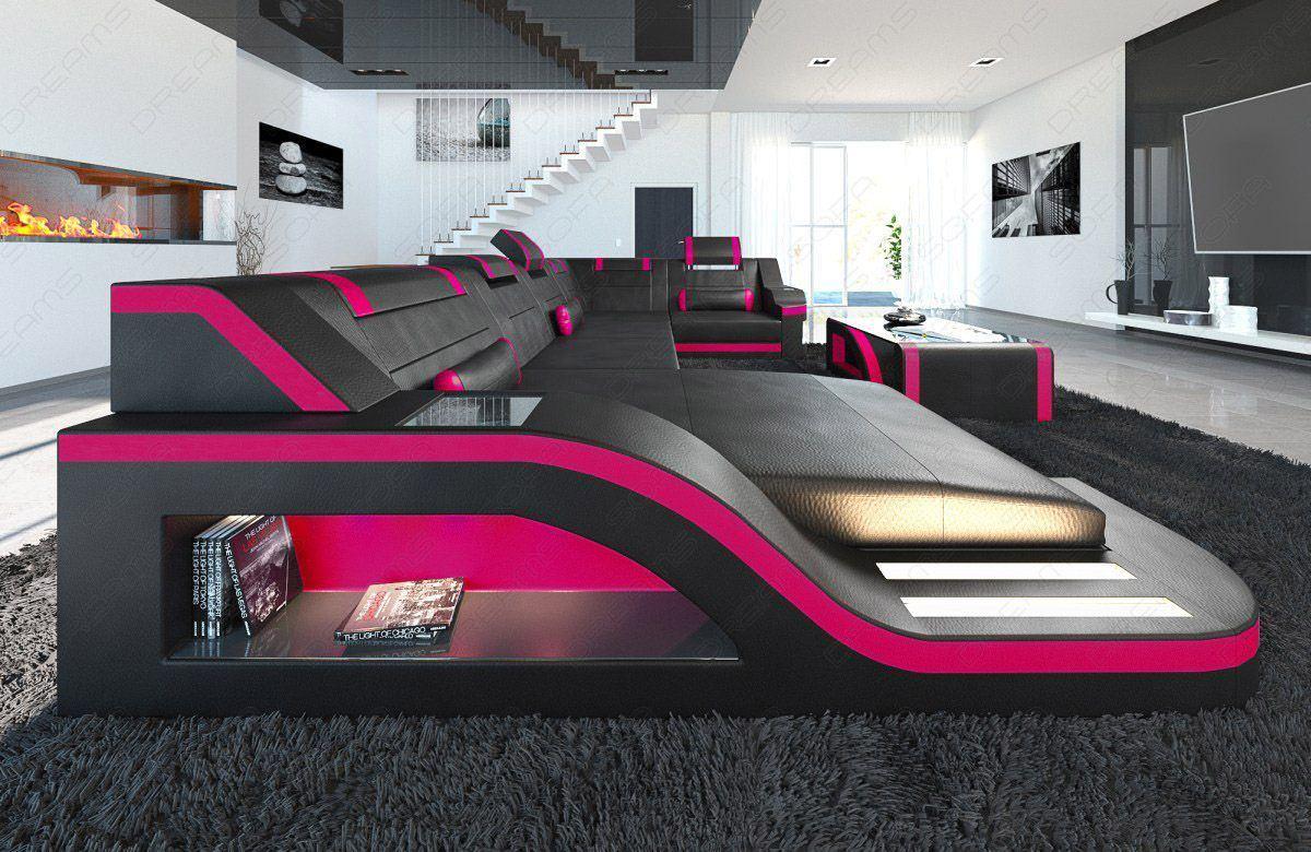 sofas ledersofa design wohnlandschaft palermo u form mit led sofas g nstig online kaufen. Black Bedroom Furniture Sets. Home Design Ideas