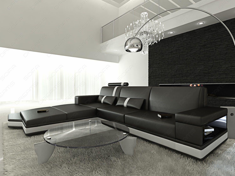 sofas ledersofa ledersofa messana l form led schwarz. Black Bedroom Furniture Sets. Home Design Ideas