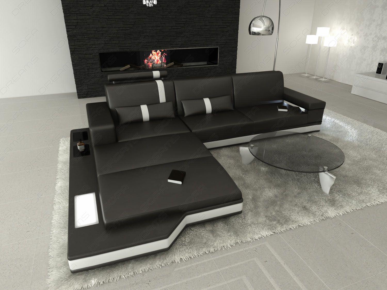 sofas ledersofa ledersofa messana l form schwarz weiss g nstig online kaufen. Black Bedroom Furniture Sets. Home Design Ideas