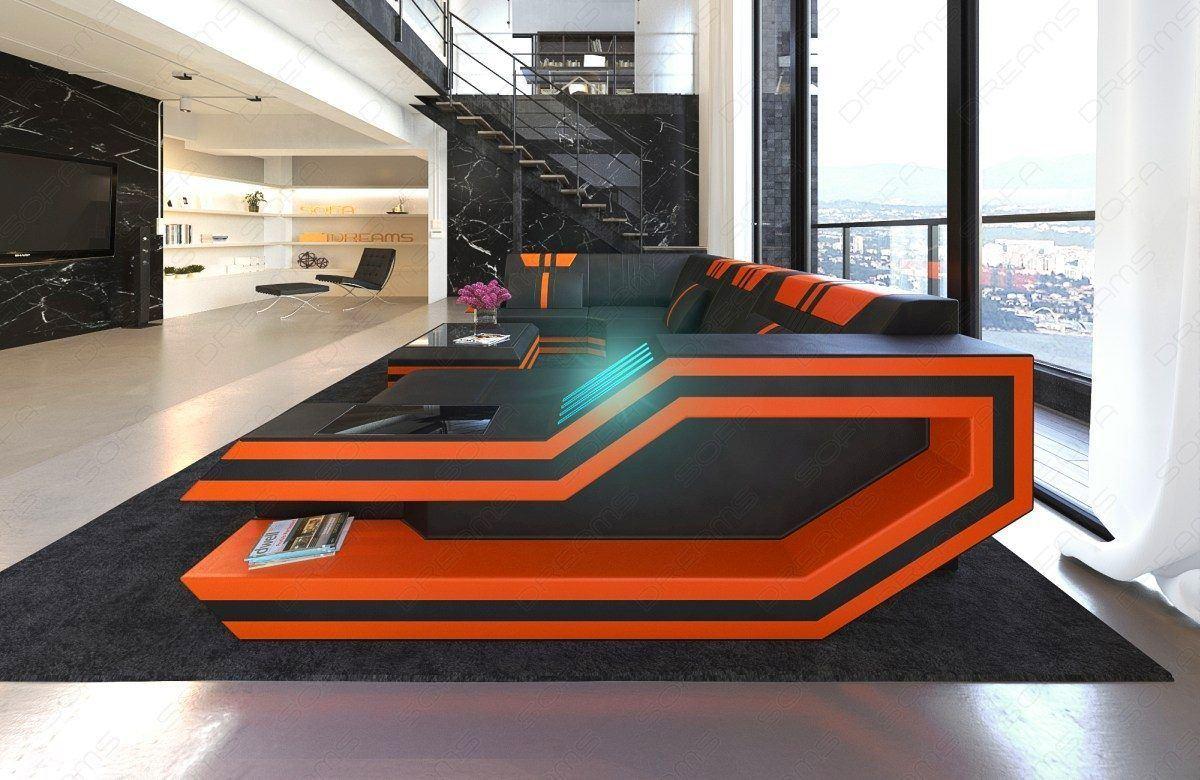 ledersofa wohnlandschaft ravenna u form led. Black Bedroom Furniture Sets. Home Design Ideas