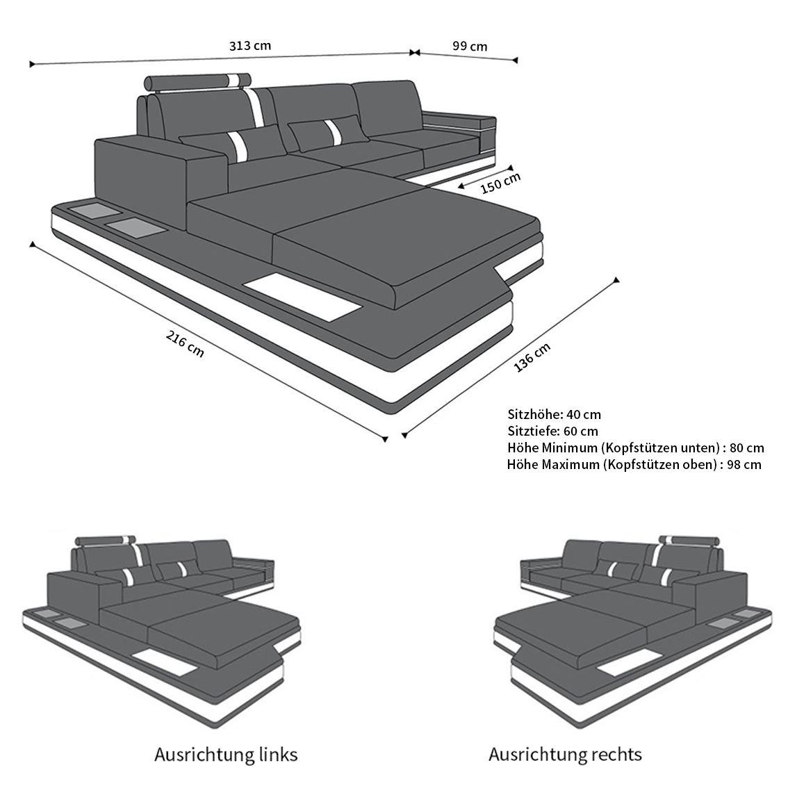 sofas ledersofa ledersofa messana l form led sofas g nstig. Black Bedroom Furniture Sets. Home Design Ideas