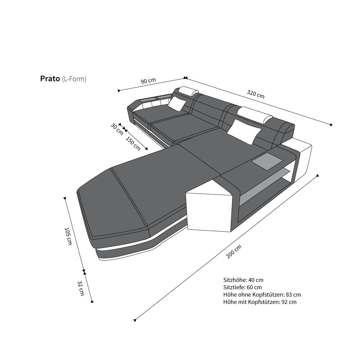 sofas ledersofa ledersofa prato l form grau weiss lagerware g nstig online kaufen. Black Bedroom Furniture Sets. Home Design Ideas