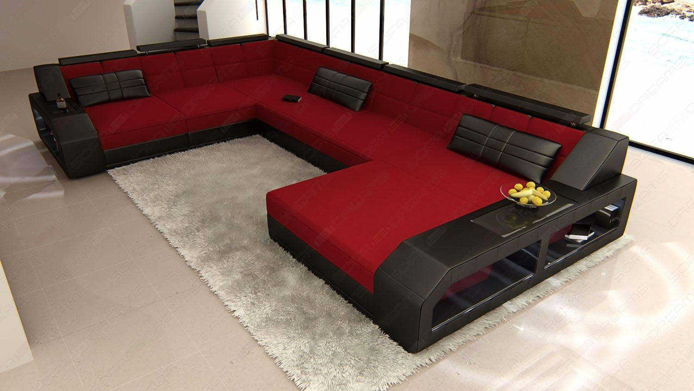 sofas ledersofa stoff wohnlandschaft im materialmix matera xxl. Black Bedroom Furniture Sets. Home Design Ideas