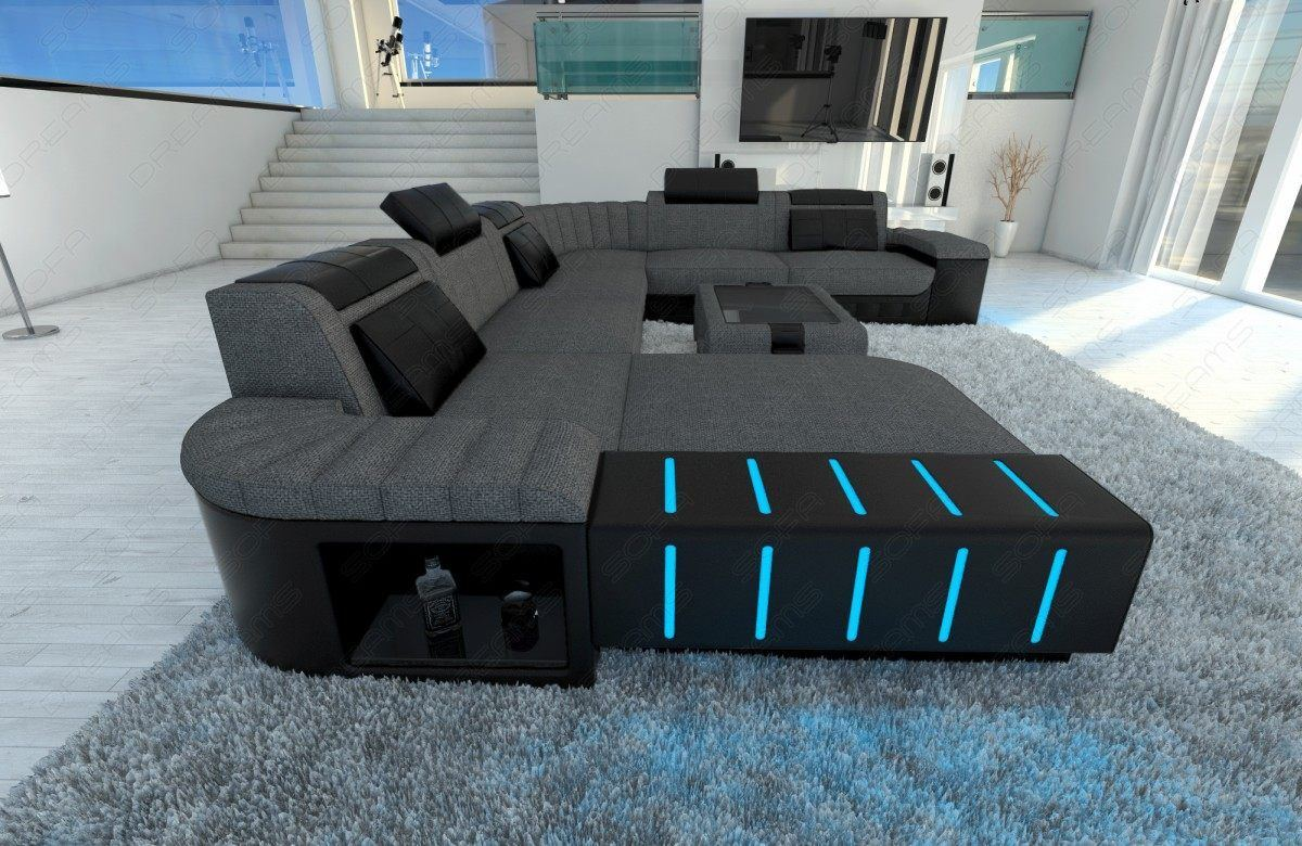 sofas ledersofa mega stoff wohnlandschaft bellagio xxl mit led sofas g nstig online kaufen. Black Bedroom Furniture Sets. Home Design Ideas