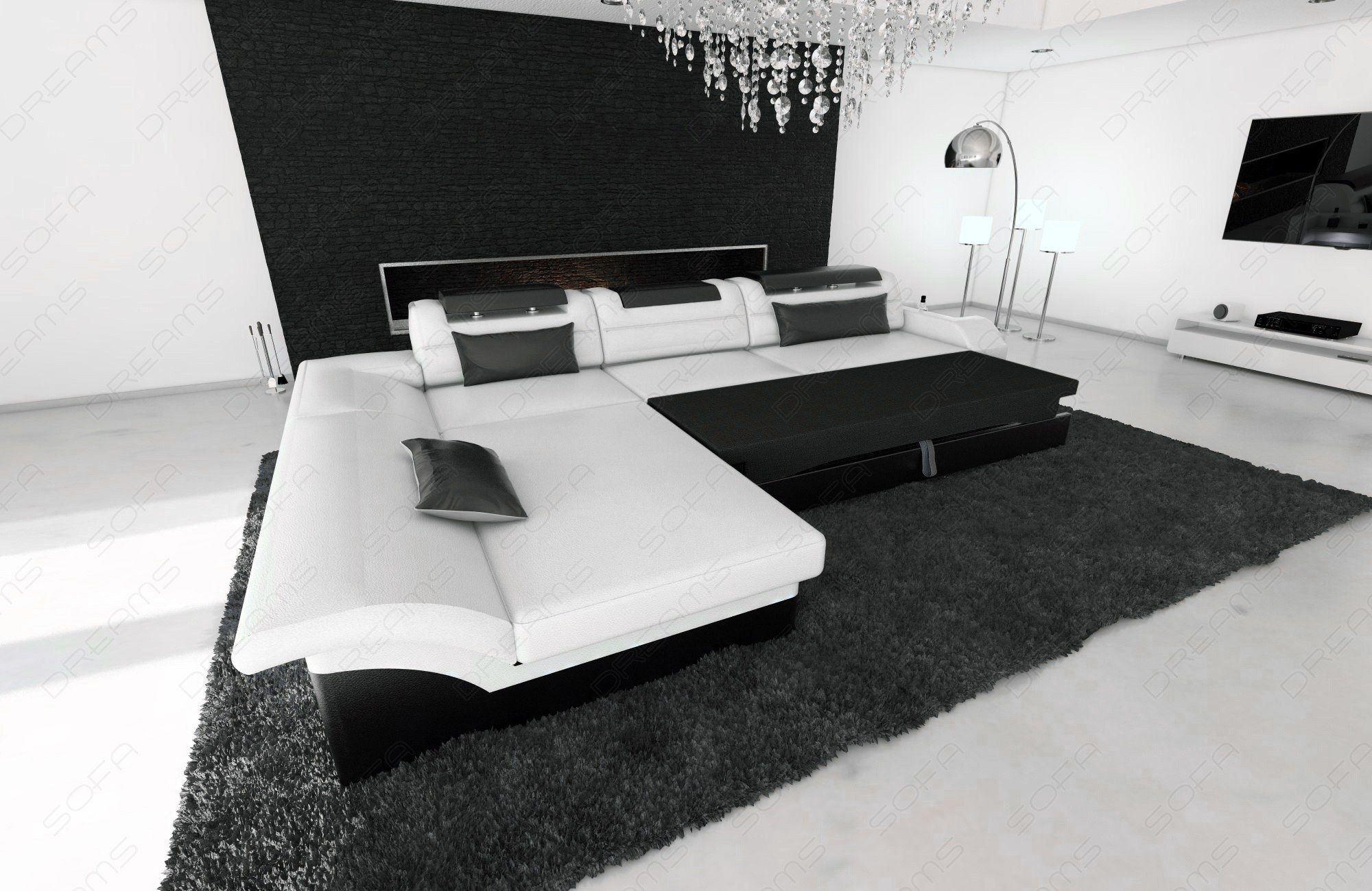 sofas ledersofa stoff couch monza l form mit led. Black Bedroom Furniture Sets. Home Design Ideas