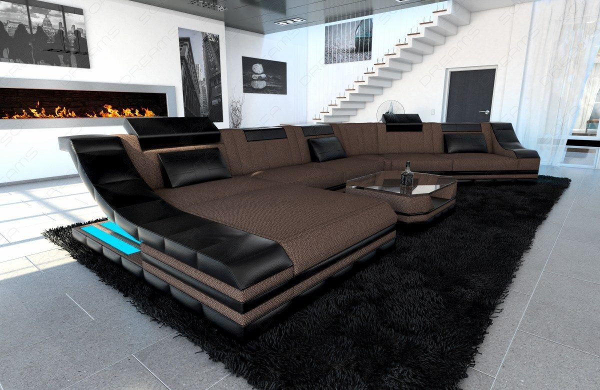 sofas ledersofa polster wohnlandschaft turino cl mit led sofas g nstig online kaufen. Black Bedroom Furniture Sets. Home Design Ideas