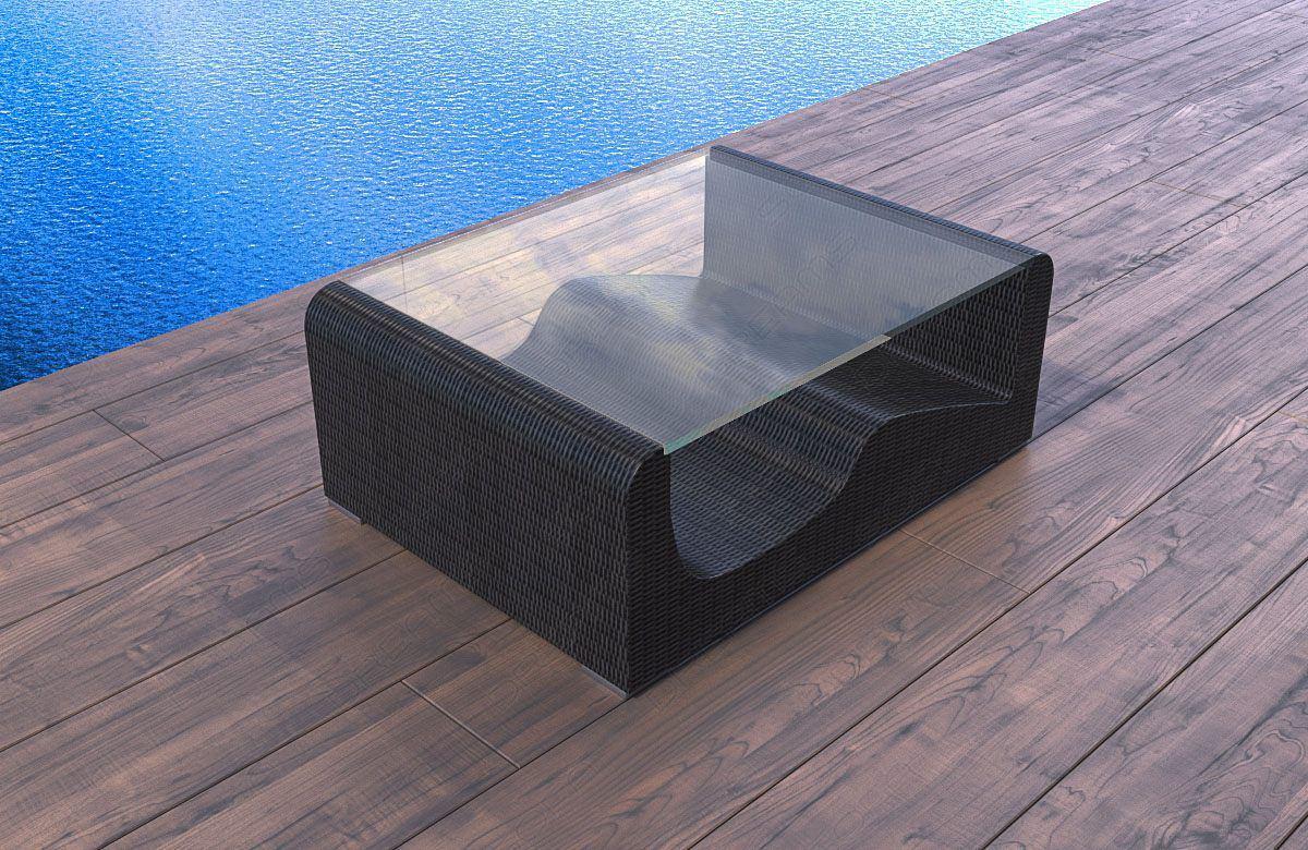 rattan tisch wave. Black Bedroom Furniture Sets. Home Design Ideas