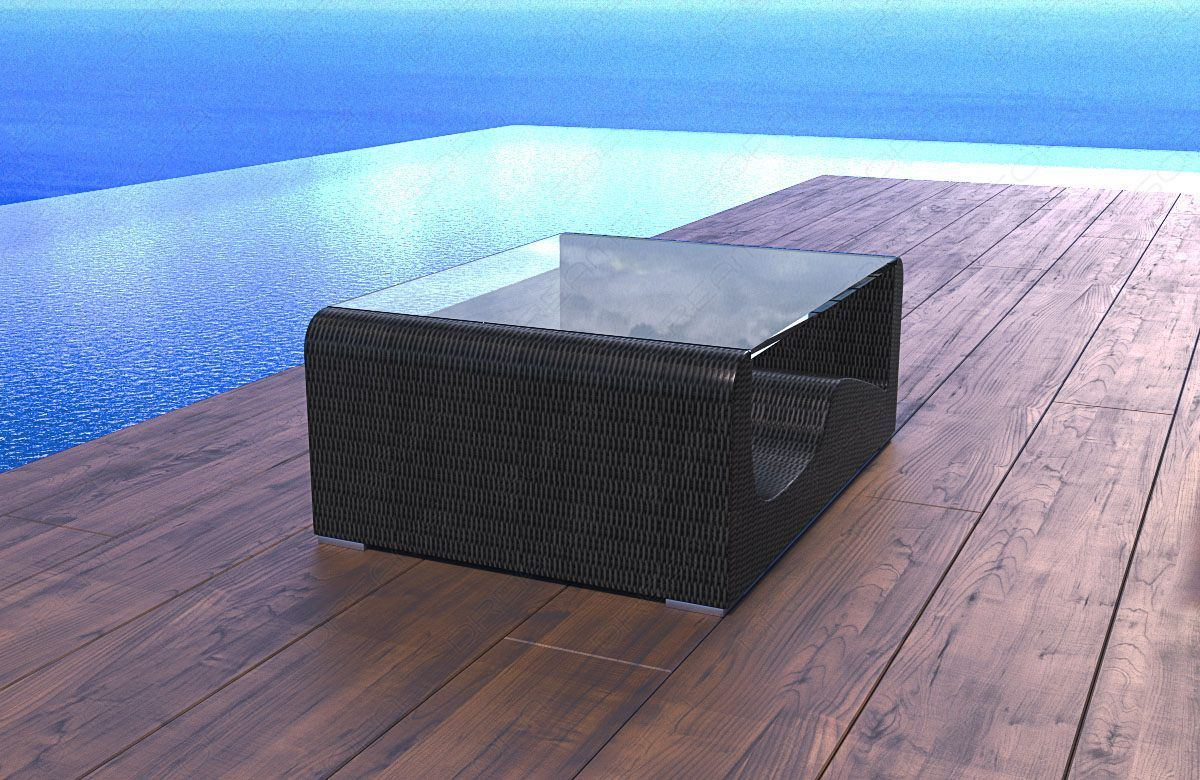 rattan tisch wave. Black Bedroom Furniture Sets. Home Design Ideas