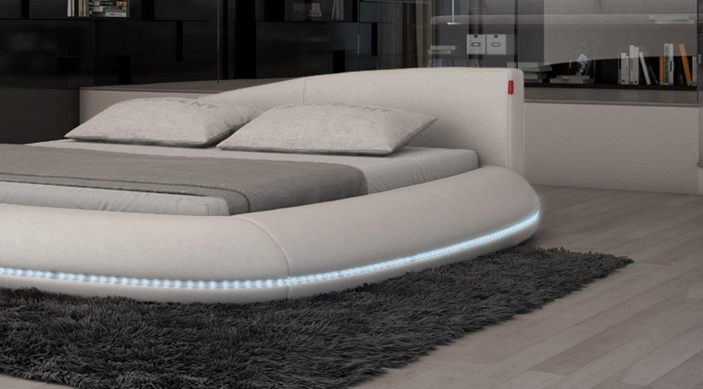 boxspring bett mit led beleuchtung im kopfteil vincenzo pictures to. Black Bedroom Furniture Sets. Home Design Ideas