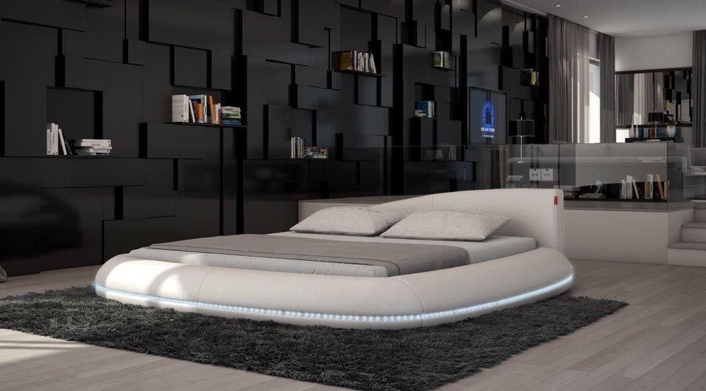 Sofas & Ledersofa | Design Rundbett MODICA mit LED