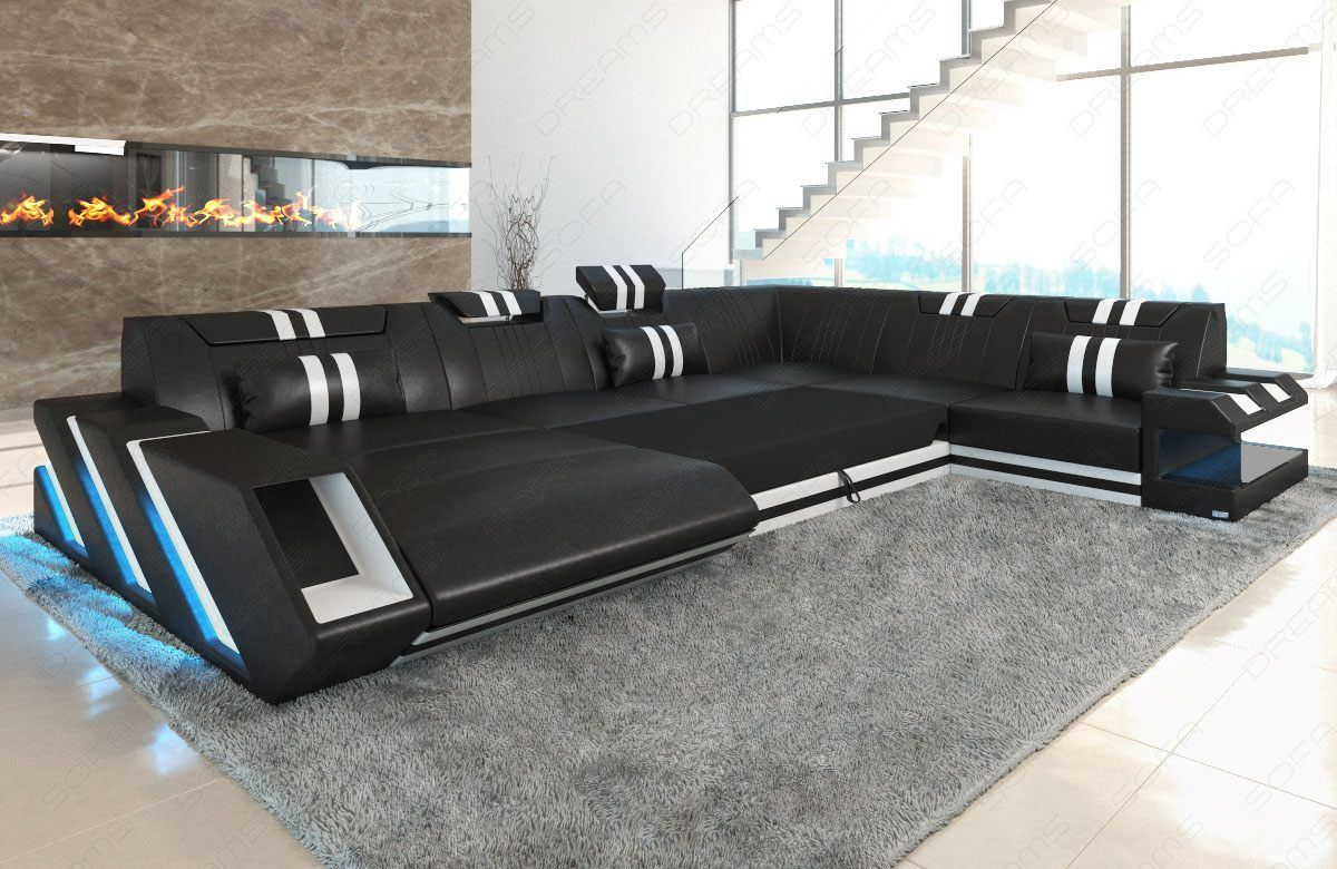 leder stoff mix wohnlandschaft apollonia xl led. Black Bedroom Furniture Sets. Home Design Ideas