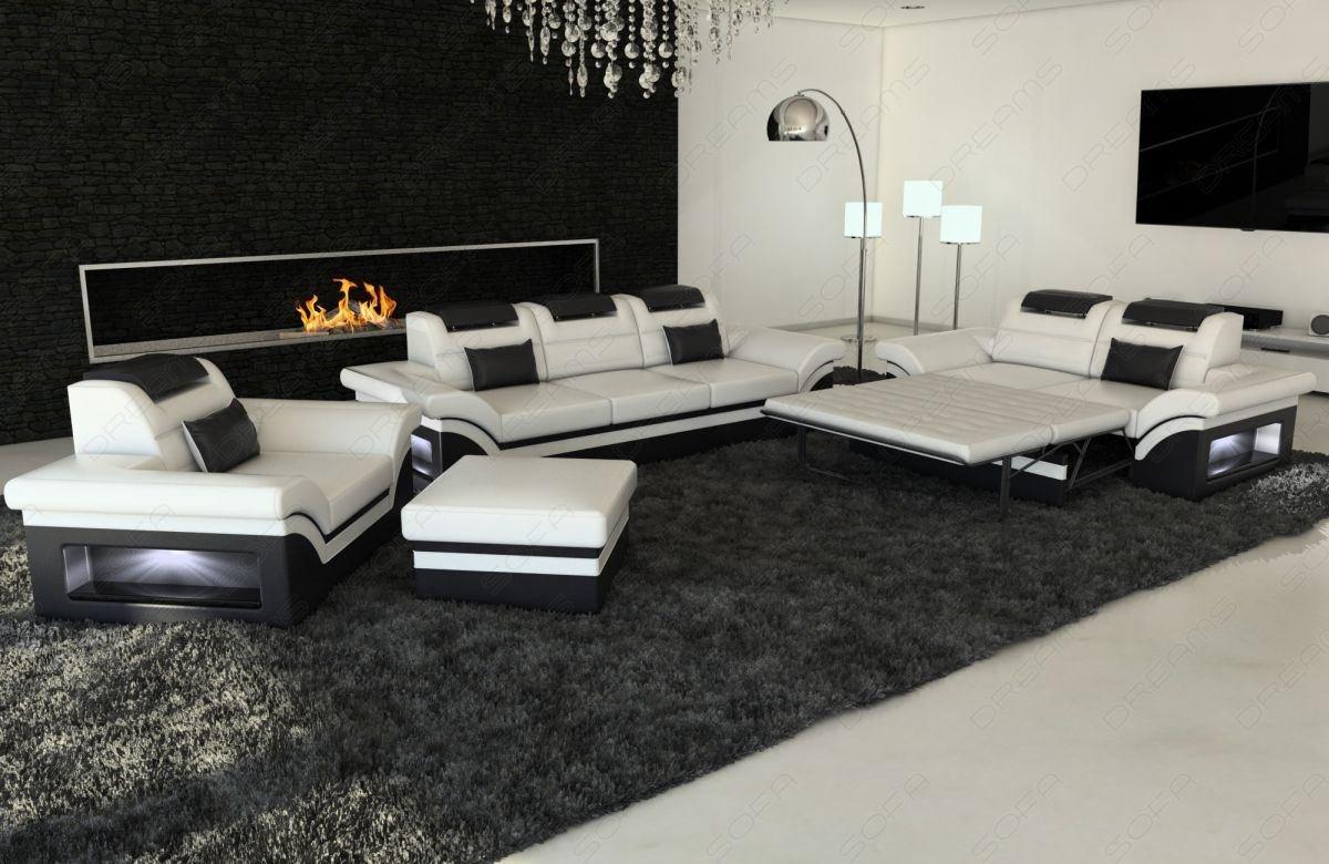 sofas ledersofa sofagarnitur 3er 2er 1er monza led. Black Bedroom Furniture Sets. Home Design Ideas