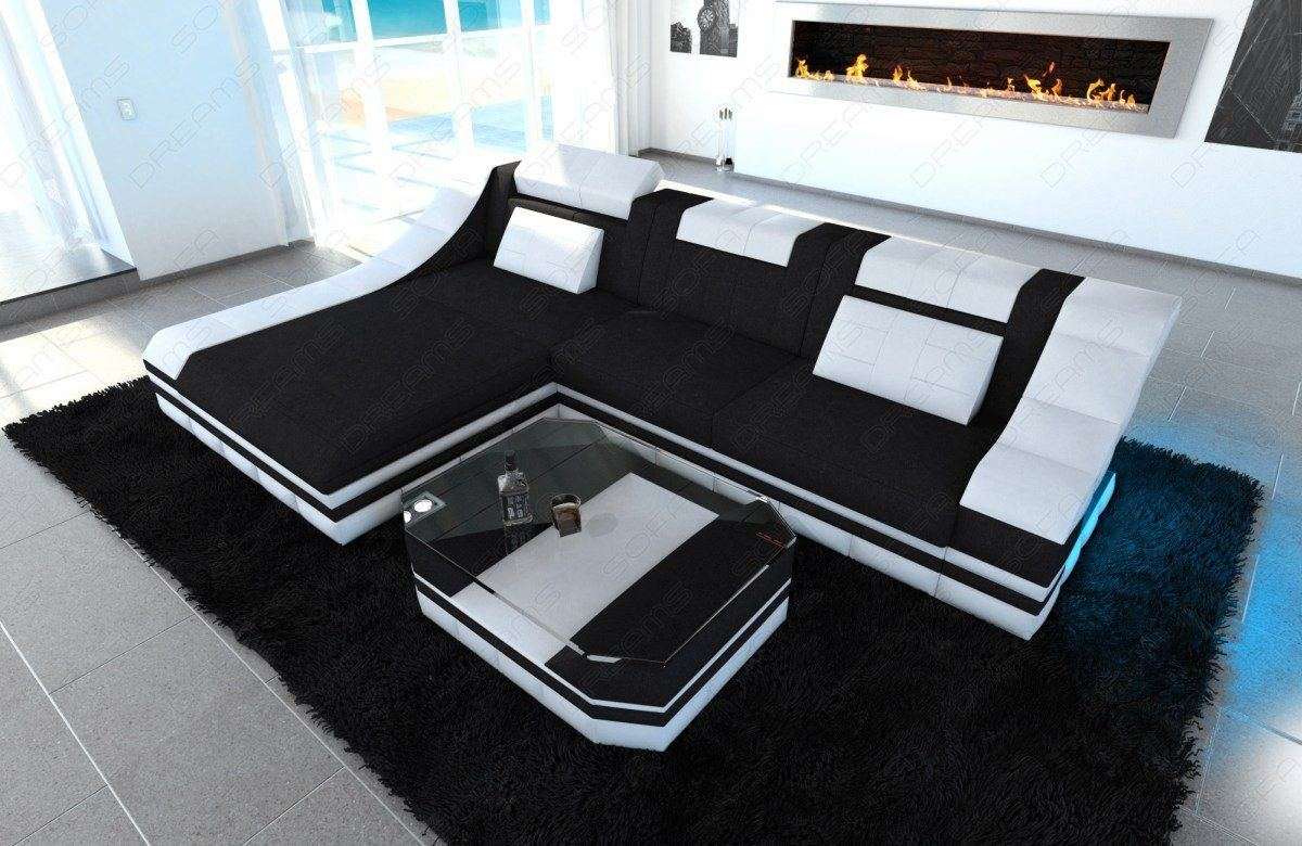 sofas ledersofa stoffcouch turino l form led sofas g nstig online kaufen. Black Bedroom Furniture Sets. Home Design Ideas