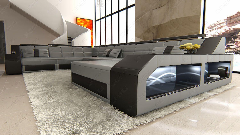 sofas ledersofa xxl leder wohnlandschaft matera grau. Black Bedroom Furniture Sets. Home Design Ideas