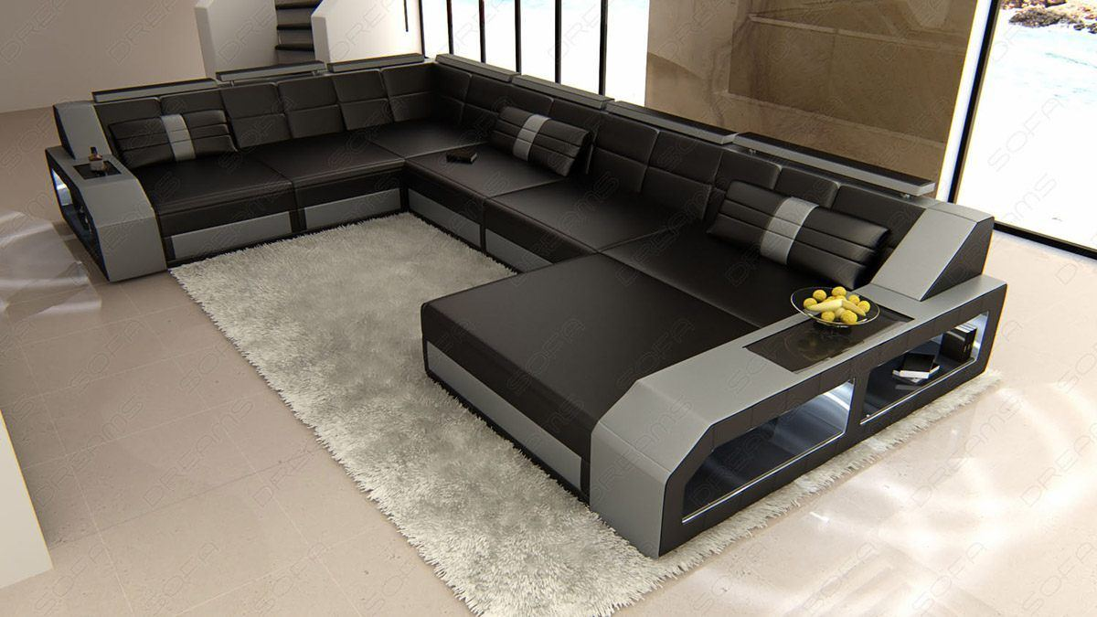 sofas ledersofa xxl leder wohnlandschaft matera led. Black Bedroom Furniture Sets. Home Design Ideas