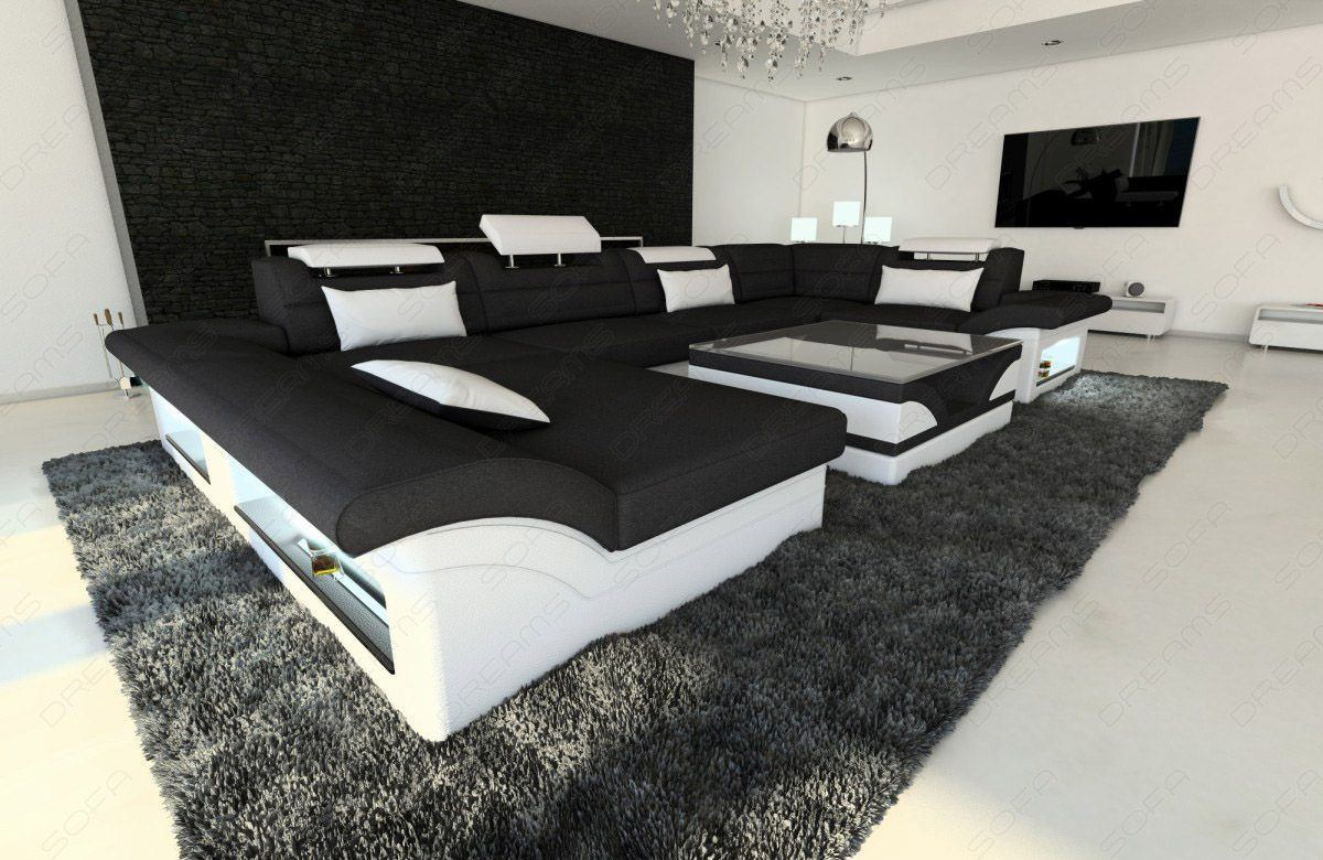 sofas ledersofa new look stoffsofa enzo led u form sofas g nstig online kaufen. Black Bedroom Furniture Sets. Home Design Ideas