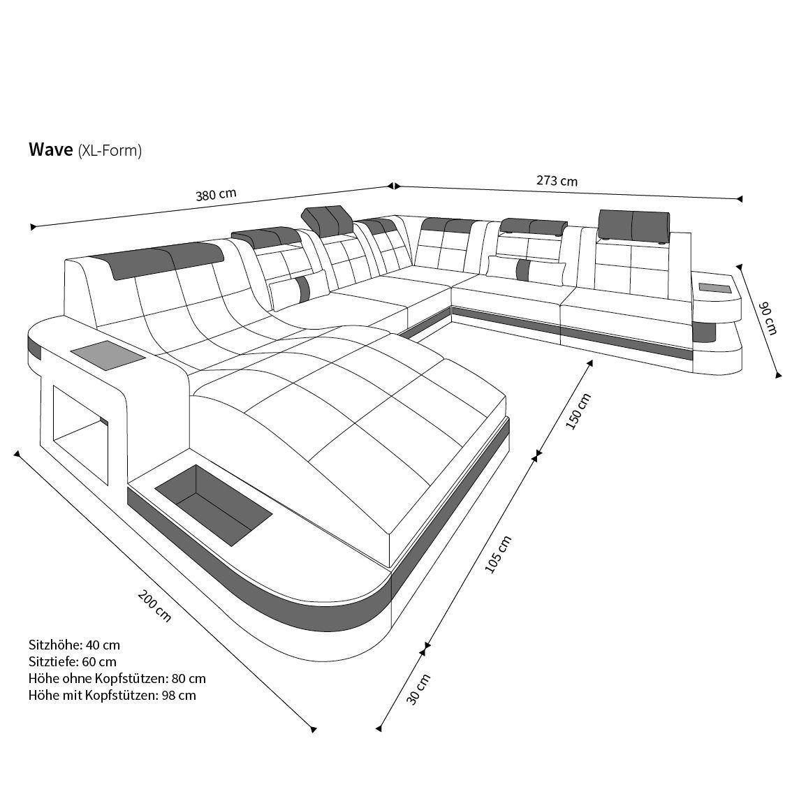 sofas ledersofa design wohnlandschaft wave xl mit led. Black Bedroom Furniture Sets. Home Design Ideas