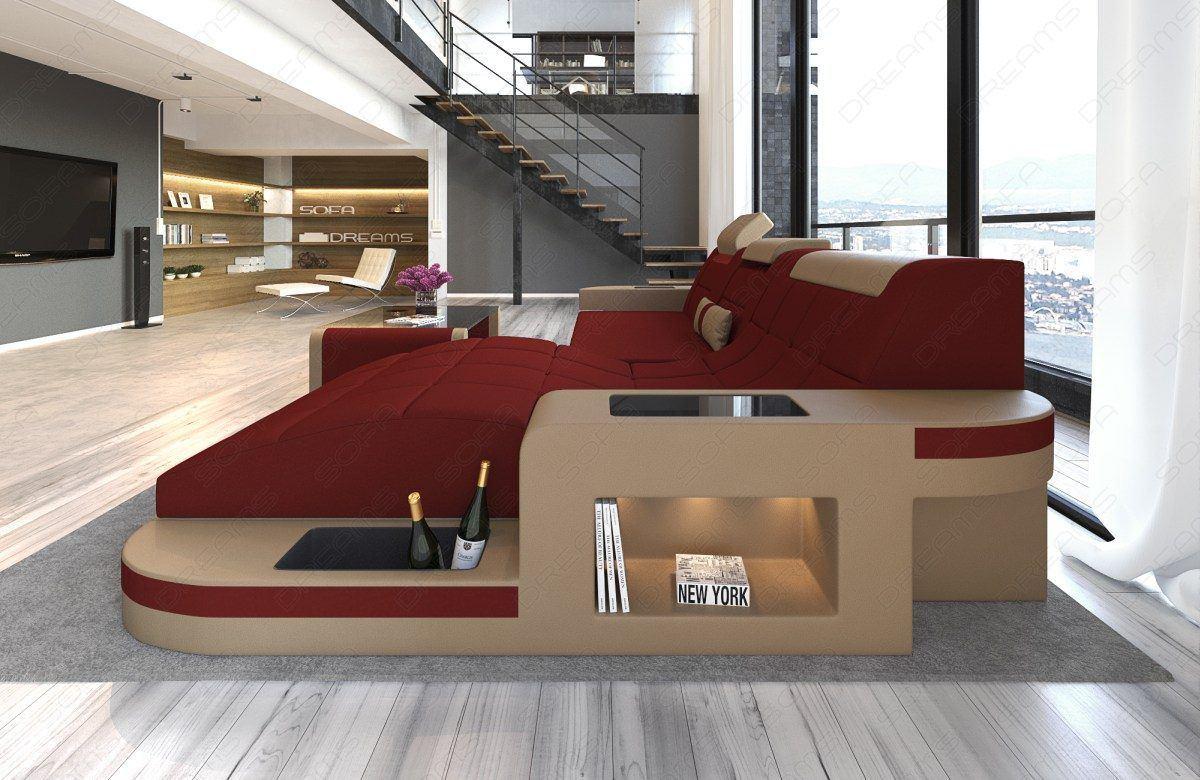 sofas ledersofa materialmix stoffsofa wave l form sandbeige weinrot g nstig online kaufen. Black Bedroom Furniture Sets. Home Design Ideas