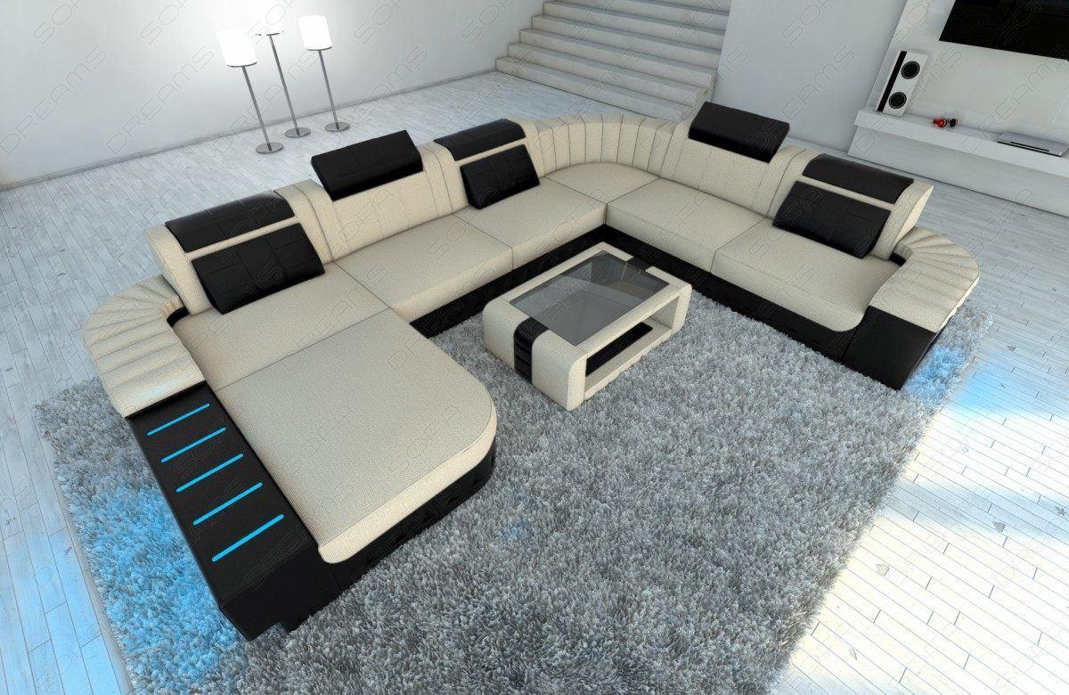 sofas ledersofa mega stoff wohnlandschaft bellagio xxl mit led sofas g nstig online kaufen. Black Bedroom Furniture Sets. Home Design Ideas