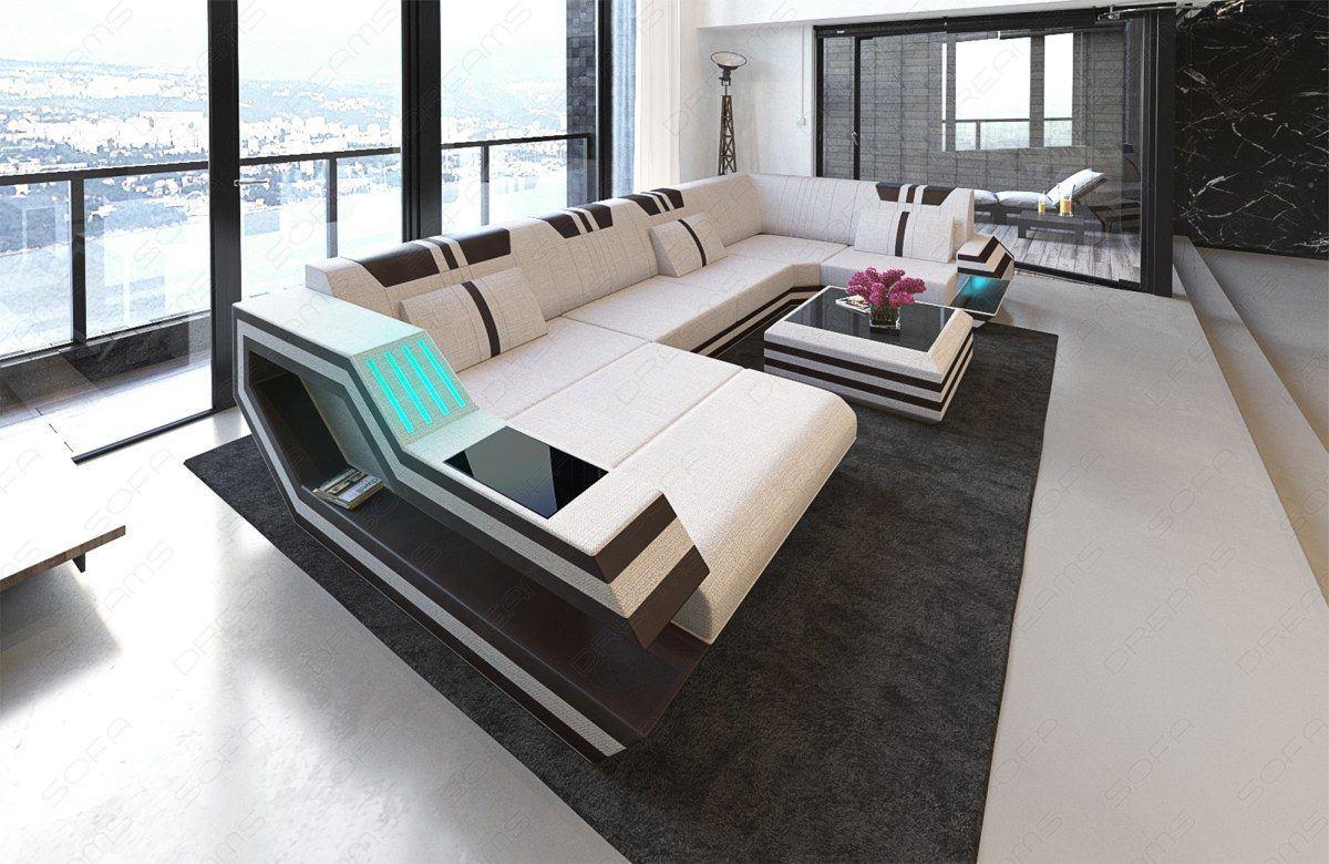 stoff wohnlandschaft ravenna u form led. Black Bedroom Furniture Sets. Home Design Ideas