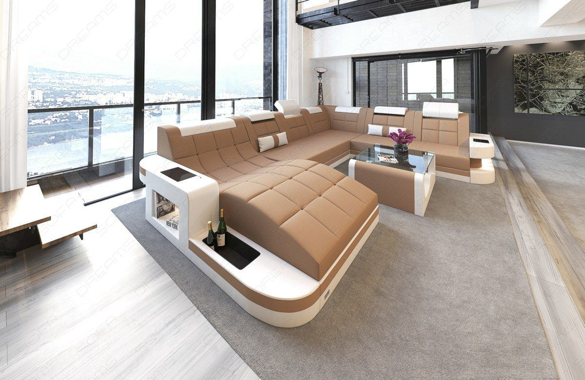 sofas ledersofa stoff wohnlandschaft wave xl materialmix weiss cappucino g nstig online kaufen. Black Bedroom Furniture Sets. Home Design Ideas