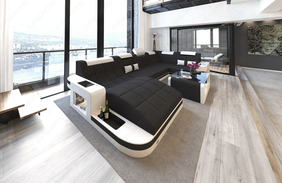 sofas ledersofa stoff wohnlandschaft wave u form mit led sofas g nstig online kaufen. Black Bedroom Furniture Sets. Home Design Ideas