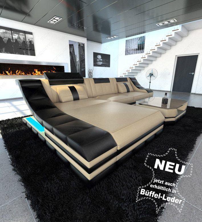 sofas ledersofa ledersofa turino l form mit led. Black Bedroom Furniture Sets. Home Design Ideas