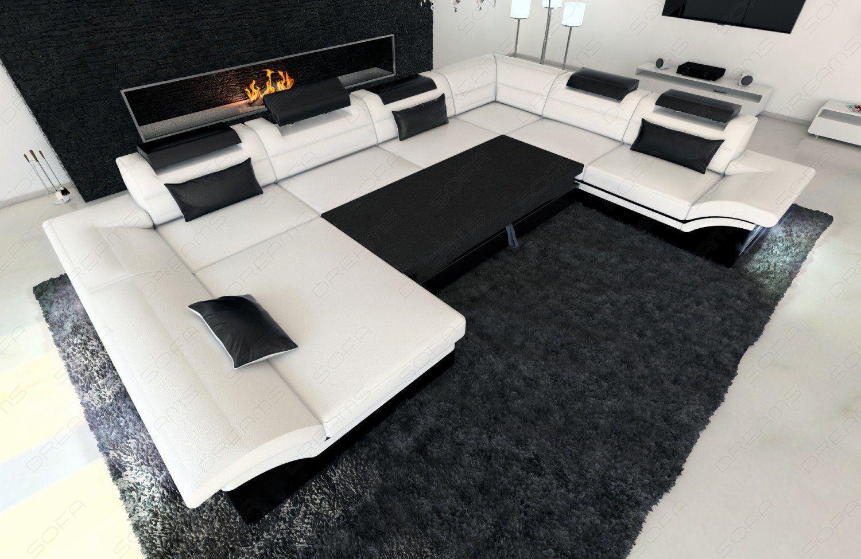 sofas ledersofa stoff wohnlandschaft enzo xxl led u. Black Bedroom Furniture Sets. Home Design Ideas