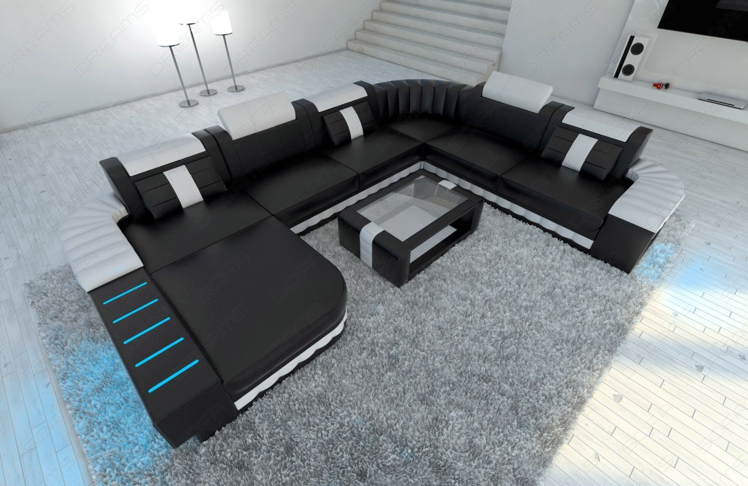 sofas ledersofa wohnlandschaft bellagio xxl led sofas g nstig online kaufen. Black Bedroom Furniture Sets. Home Design Ideas