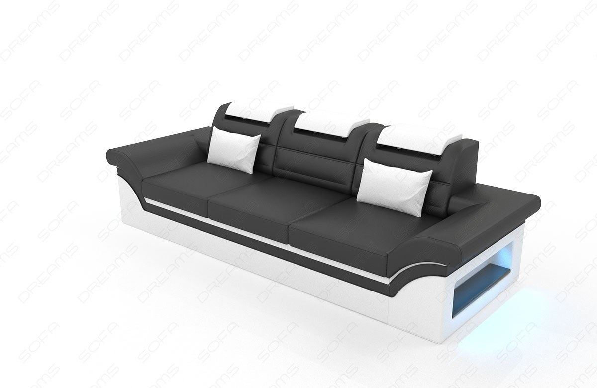 couchgarnitur monza 3 2 1 in leder mit eingebauter led beleuchtung. Black Bedroom Furniture Sets. Home Design Ideas