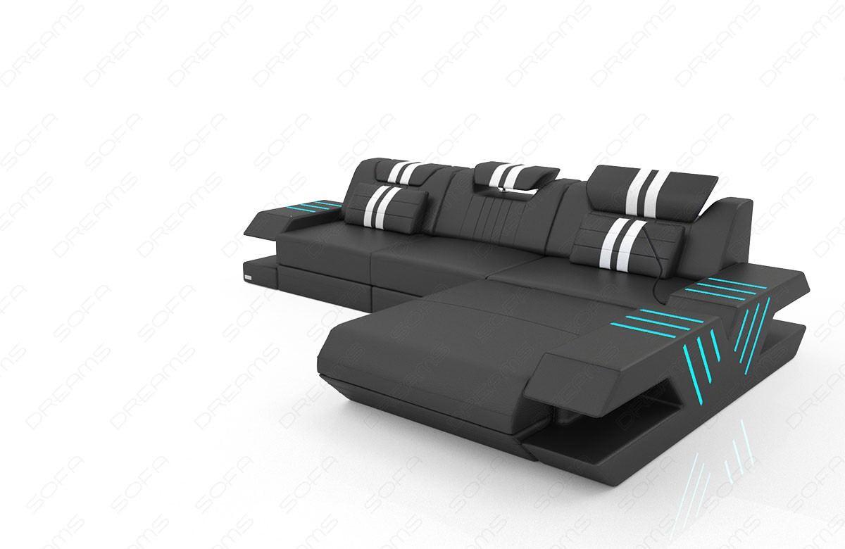ledersofa venedig in l form mit ottomane und beleuchtung. Black Bedroom Furniture Sets. Home Design Ideas
